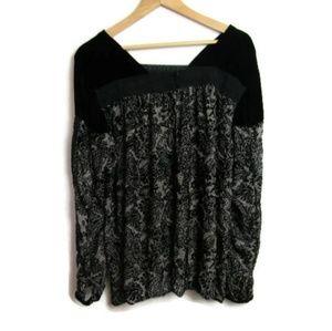 Sundance Black Velvet Lace Silk Blend Long Sleeve